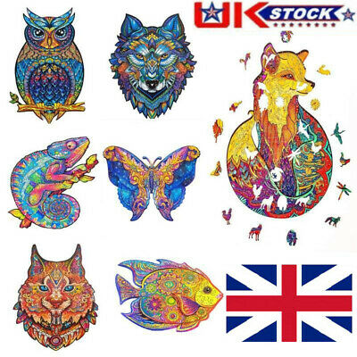 Wooden Jigsaw Puzzles Animal Fox Wolf Lion Owl Jigsaw Gift For Adults Kids UK • 17.11£