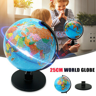 25cm Rotating World Globe Map Earth Geography Kids Children Christmas Gift Decor • 15.99£
