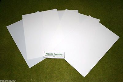 5 Sheets Of WHITE Plasticard Assorted Thicknesses – See Decription • 6.25£
