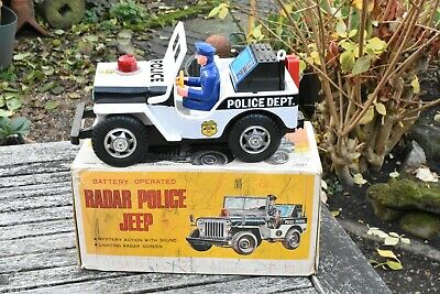 Tin Plate Radar Police Jeep Made In Japan By NOMURA (TN) - Fully Working & Boxed • 9.99£
