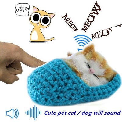 Kawaii Plush Pet Sleeping Cat Soft Doll Sound Toys Kids Gift Home Decoration • 3.32£