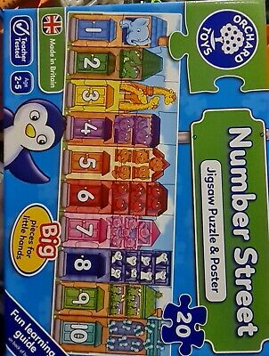NUMBER STREET JIGSAW PUZZLE Kids Educational Puzzle BN • 12£