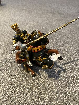 Papo Knight King & Horse New Black Gold • 10£