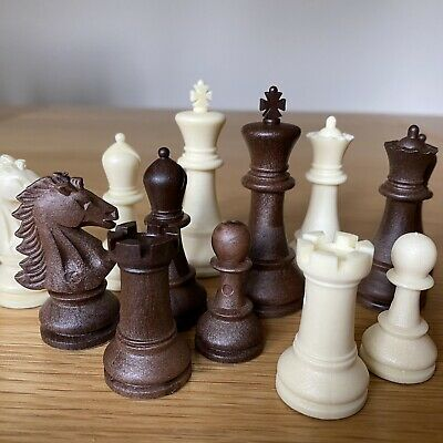 Vintage De Luxe Chess Pieces From WH Smith - King Is 67 Mm High Resin With Felt • 14.99£