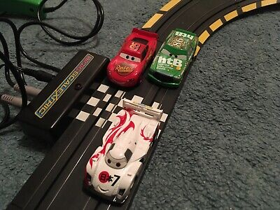 Disney Cars Micro Scalextric Set In Working Condition Plus Extra Car • 15£