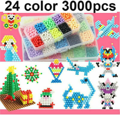 NEW 3000X SUPER REFILL Aquabeads Water Fuse Beads 24 SEPARATE Color Packing UK • 10.39£