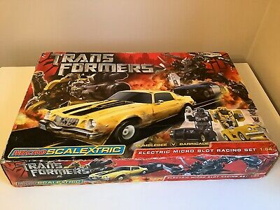 Scalextric Micro Transformers Slot Racing Set BUMBLEBEE V BARRICADE • 19.99£