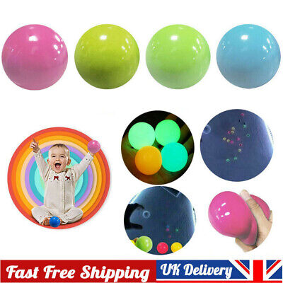1/4PCS Sticky Wall Ball For Ceiling Stress Relief Globbles Squishy Kid Adult Toy • 7.59£