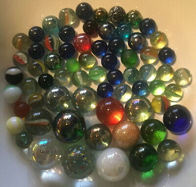 Vintage Collection Of 67 Glass Marbles Of Various Sized Dating From 1980s. • 3.99£