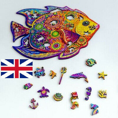 Wooden Jigsaw Puzzles Unique Animal Shape Jigsaw Pieces Adult Toy Home Decor UK, • 14.36£
