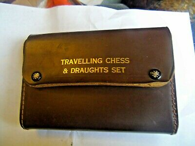 Vintage  House Martin Travelling Chess & Draughts Set  Leather Case   • 15£