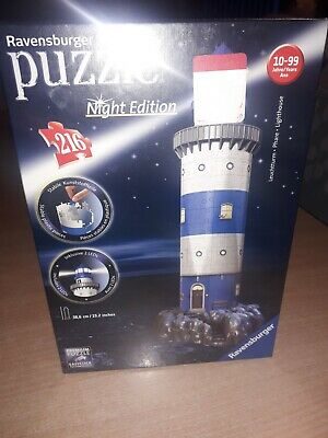 Ravensburger 3D Puzzle Night Edition Lighthouse 216 Pieces Jigsaw • 23£