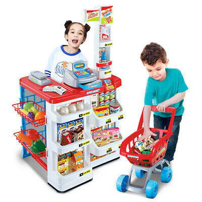 Childrens Pretend Role Play Big Supermarket Shop Toy Set Trolley & Food • 22.99£