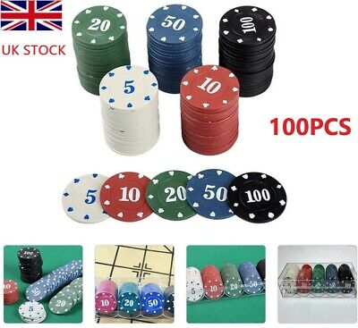 100Pcs Poker Chips Mini Number Tokens For Casino Gambling Board  Cards Game UK • 13.29£
