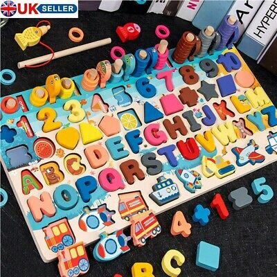 Montessori Educational Wooden Toys Kids Board Math Fishing Count Early Education • 14.89£