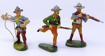 Vintage Elastolin Composite Cowboys 70mm. Post 1940 Toy Soldiers Made In Germany • 9.99£