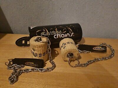 PoiPoi 'Flaming Chains' Fire Poi W/ Big Loop + Double Grips - Made With Kevlar • 16.60£