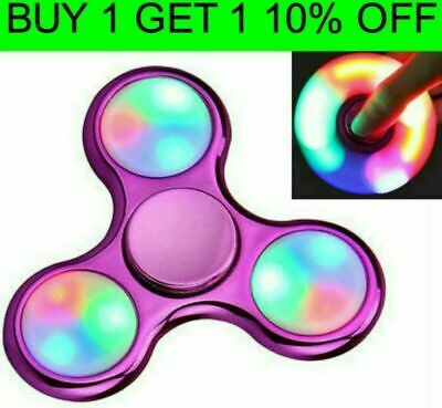 LED Light METALLIC Fidget Finger Spinner Hand Spinner Stress Toys GLOW IN DARK • 3.47£
