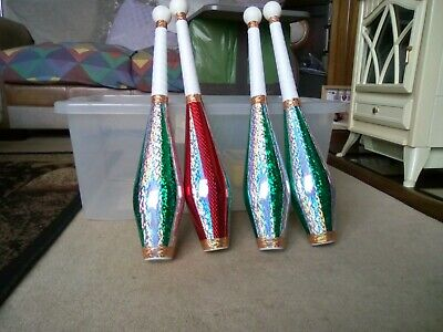 Juggling Clubs X 4 Hand Decorated • 40£