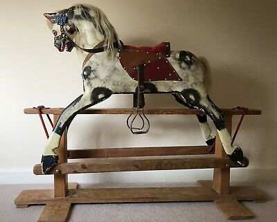 Antique Vintage Large Collinson's Wooden Rocking Horse • 350£