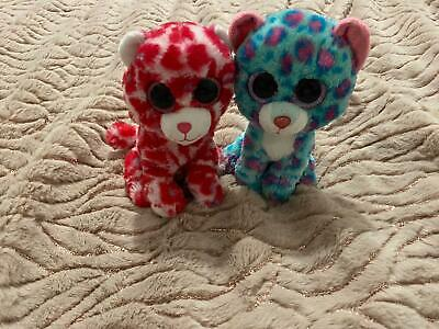 Ty Beanie Boos Plush Jaguar Leopard Small Bundle Of Two Red Pink Blue • 3£