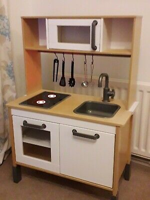Ikea DUKTIG Wooden Working Play Kitchen And Utensils Excellent Condition • 34.99£