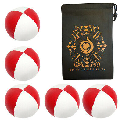 5 X Red/ White 115g Cascade Classic Thud Juggling Balls And Bag • 18.70£