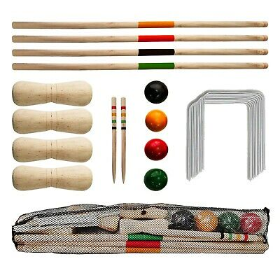 New 4 Player Croquet Set Wooden Mallet Kids Summer Fun Outdoor Garden Game  • 240.49£