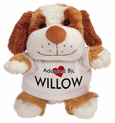 Adopted By WILLOW Cuddly Dog Teddy Bear Wearing A Printed Named T-Sh, WILLOW-TB2 • 14.99£