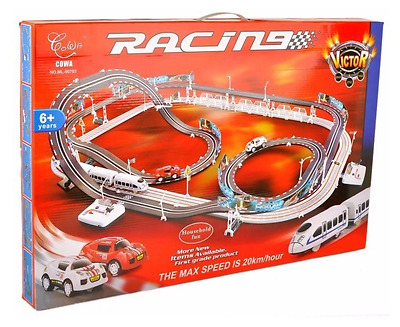 Large Remote Control Slot Car Racing Track Kids Toy Childrens Game 632 Cm 20km/h • 39.99£