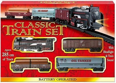 Classic Battery Operated Train Set With Tracks Light Engine Children Kids Toy • 8.99£
