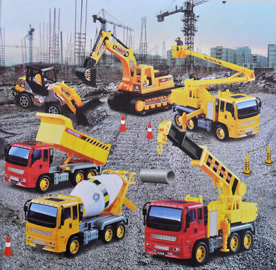 New Toy Construction Vehicle 6pc Set Crane Digger Cement Mixer Tipper Excavator • 19.95£