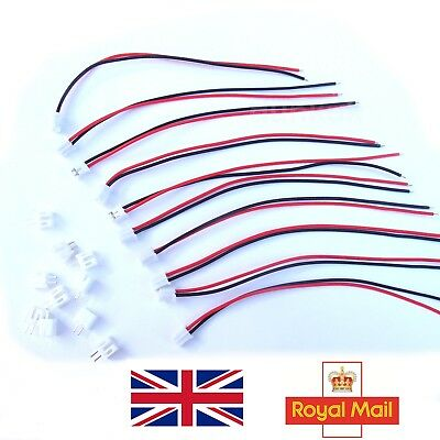 Micro JST 2 Pin PH 2.0mm Male Female Connector Plug Wires Cable 110mm 5 10 20 UK • 2.29£