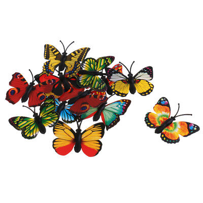12pcs Multicolored Plastic Butterfly Action Figure Insects Model Kids Toy • 1.33£
