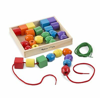 Melissa & Doug 544 Primary Lacing Beads Educational Toy 30 Wooden Beads 10544 • 11.40£