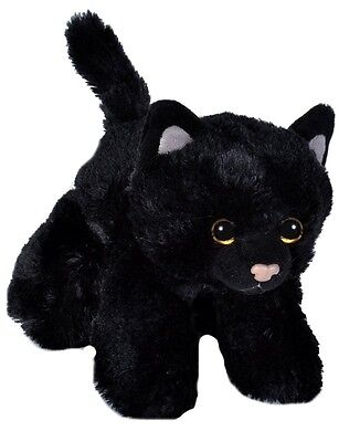 Black Cat Soft Teddy Bear Toy Wild Republic Hug'ems 7  Cuddly Plush Kitten Kids • 7.49£