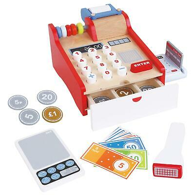 Lelin Wooden Cash Register Childrens Shopping Shop Grocery Checkout Till Toy • 14.99£