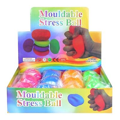 Mouldable Stress Balls Soft Squishy Assorted Neon Colours Toys (1, 4 Or 12) • 3.95£