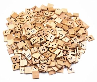 100 Wooden Scrabble Tiles Black Letters & Numbers For Crafts Art Wood Uk Seller • 3.79£