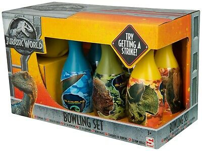 Jurassic World Large Bowling Set Kids Childrens Fun Toy Game With Pins And Ball  • 9.99£