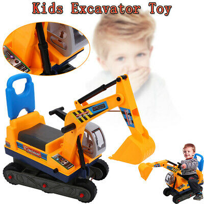 Childrens Ride On Digger Push Along Kids Excavator Toy Tractor W/Helmet Safety • 25.48£