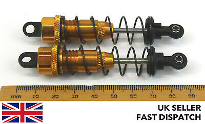 Gold Aluminium Shock Absorbers For RC Buggy/Car 90mm 82mm X 17mm 1/10 Scale • 8.50£