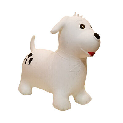 White Dog Animal Space Hopper Kids Hop Bounce Jump Ball Fun Active Toy With Pump • 13.99£