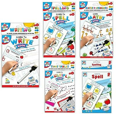 Learn To Write Alphabets Number Educational Wipe Clean Book School Kids With Pen • 2.85£