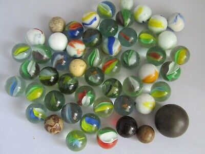 Old Glass Marbles Mixed Job Lot - Mostly 2.5cm  • 10£