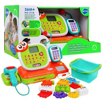 Super Toy Cash Register With Accessories LED Display Calculator Barcode Scanner • 46.99£