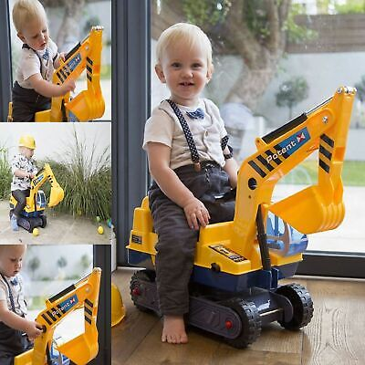 Kids Ride On Toy Digger Toddler Push Along Gift Fun Excavator Xmas Rotating Gold • 29.95£