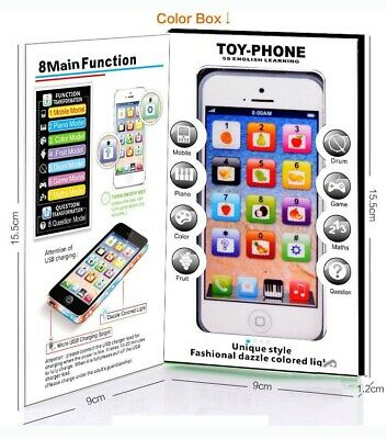Kids Toy Phone New Educational English Learning Toy Mobile Phone Black/White • 5.68£