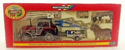 Britains 9665 Massey Ferguson 3680 Tractor, Ploughs & Trailer Gift Set New Boxed • 54.95£