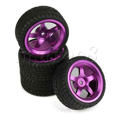 4PCS Purple Hard Pattern Tires W/ Metal 5 Spoke Wheel For RC1:10 On Road Car • 27.17£